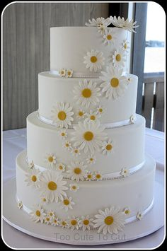 Daisy dreams  4 tier daisy wedding cake  www.facebook.com/toocutetocut