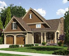 plan 39161st charming l shaped porch front elevationsquare feetcraftsman home - L Shaped Craftsman Home Plans