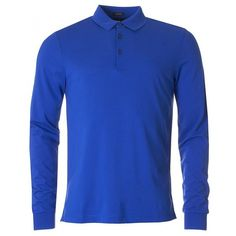 Hugo Boss Black Paderna Long Sleeved Pique Polo ($105) ❤ liked on Polyvore featuring men's fashion, men's clothing, men's shirts, men's polos and open blue