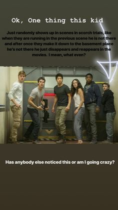 I noticed this and pointed it out to a friend who doesn't read or watch TMR and they were just like okaaayyyyy. // thats jack, i never noticed him either but my brother told me. He dies in a deleted scene in the supermarket with the cranks Maze Runner Funny, Maze Runner Cast, Maze Runner Movie, Maze Runner Trilogy, Maze Runner Series, Thomas Brodie Sangster, The Scorch Trials, Really Funny Memes, Books