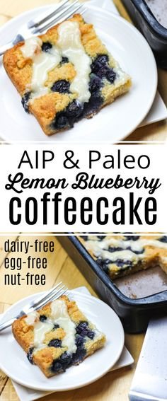 Breakfast Recipes This AIP Lemon Blueberry Coffeecake is so good that your egg-eating friends won't know this is egg-free. Yes, it's also dairy-free and nut-free … yet such a tender crumb and overall lovely eating experience. Dairy Free Treats, Dairy Free Eggs, Dairy Free Recipes, Paleo Recipes, Gourmet Recipes, Real Food Recipes, Paleo Food, Paleo Diet, Blueberry Recipes Paleo