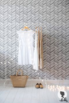 Herringbone Pattern Wallpaper amovible L007