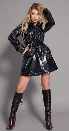 Sexy Boots, Cool Boots, Imper Pvc, Black Raincoat, Lingerie Heels, Vinyl Dress, Vinyl Clothing, Botas Sexy, Stiletto Boots