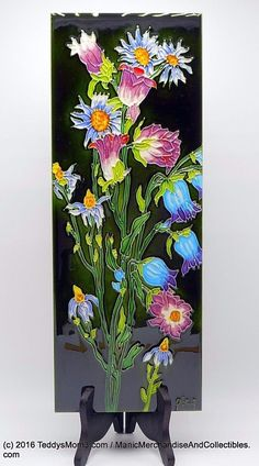 "Bell Flowers Blue Purple Decorative Ceramic Art Tile 6x16"" Continental Art KD111…"