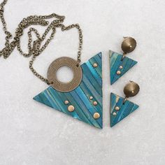 Blue Triangle necklace Contemporary necklace by EvaAndreDesign