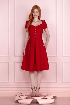 Cuplover - Vestidos Fofos in 2020 Lovely Dresses, Beautiful Outfits, Vintage Dresses, Summer Outfits Women, Summer Dresses, Red Frock, Cute Fashion, Fashion Outfits, Looks Chic