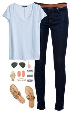almost spring by classically-preppy on Polyvore featuring H&M, J Brand, Tory Burch, Michael Kors, Kendra Scott, Ganni, Ray-Ban and Essie