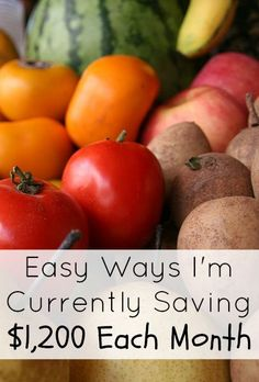 Easy Ways I'm Currently Saving $1,200 Each Month. We're saving money in many other different ways besides just the ones in this post. However, these are the areas we are primarily trying to work on and they equal a total savings of around $1,200 a month right now. http://www.makingsenseofcents.com/2014/08/easy-ways-im-currently-saving-1200-each-month.html