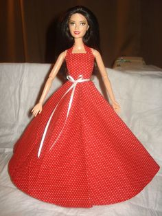 Red and white dot full formal dress for Barbie Dolls - ed362. $11.50, via Etsy.