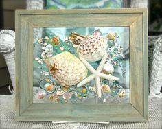 Starfish Wall Art Beach Art with Shells Beach Glass Art for