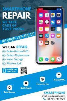 Copy of Smartphone Repair Flyer Iphone Repair, Mobile Phone Repair, Mobile Phone Shops, Mobile Phone Cases, Apple Iphone 6, Apple Repair, Mobile Logo, Huawei Phones, Computer Repair