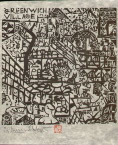 Shiko Munakata, map of Greenwich Village, woodcut.