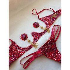 Rhinestoned underwire bra, gstring and pasties set, panty, burlesque (720 CAD) ❤ liked on Polyvore featuring intimates, bras, lingerie, red rhinestone bra, red bra, lingerie bras, underwire bra and red lingerie