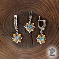 Flower jewelry. Fern flower ring and earrings. Viking