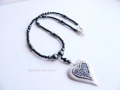 Black Glass And Haematite Silver Heart by Bluebirdsanddaisies, £12.00 #jewelry #necklace