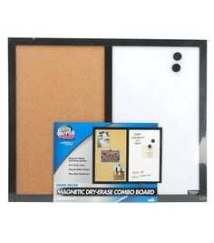 Magnetic Metal Dry Erase Surface   Fine Grain Cork   Upscale Black Frame   Mounting Hardware Included   Made by The Board Dudes
