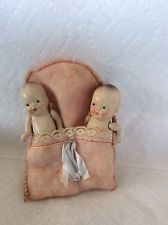PAIR TWINS -BABY DOLLS IN BUNTING-OLD COMPOSITION DOLL