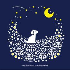 夜のシロツメクサ畑 #シロツメクサ #Whiteclover #illustration... - カメツル
