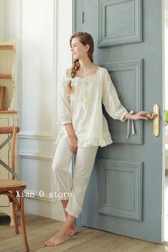 100% cotton sleepwear set Retro style home clothes White 9efc3186e