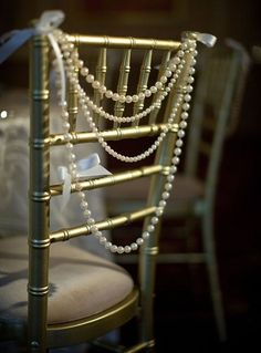 Classy Ivory Pearl Garland Bride Groom Head Chair Reception Chiavari Backing Swag Wedding Day Shower Sweetheart Table Gatsby Theme - Pin to Pin Great Gatsby Motto, Great Gatsby Wedding, 1920s Wedding, Art Deco Wedding, Wedding Themes, Dream Wedding, Wedding Ideas, Wedding Vintage, Wedding Venues