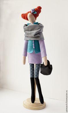 Купить Кукла Тильда горожанка в сиреневлм - сиреневый, кукла Тильда, тильда, подарок девушке