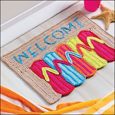 Flip-Flop Doormat pattern by Debra Arch. Beachy keen.  bath mat!