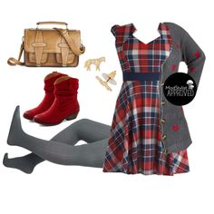 Plaid and Subtract Dress by modcloth on Polyvore featuring Look From London, INDIE HAIR, modstyled and modplus