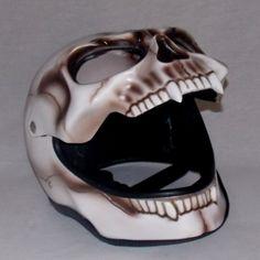 Skull Skeleton Visor 3D Airbrush Ghost Fullface Motorcycle Helmet ...
