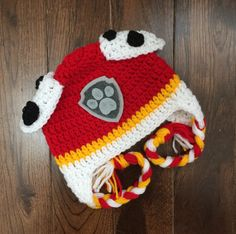 Marshall Paw Patrol Crochet Character Hats, Dog Hat, Made to Order, Cartoon Outfit, Newborn Baby Chi Crochet Hat Earflap, Bonnet Crochet, Crochet Gloves, Crochet Baby Hats, Paw Patrol Marshall, Paw Patrol Badge, Crochet Character Hats, Cartoon Outfits, Crochet Hat Patterns