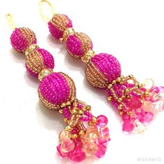 Hey, I found this really awesome Etsy listing at https://www.etsy.com/listing/196570898/hot-pink-and-gold-handcrafted-glass-bead