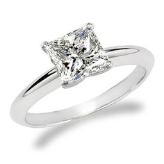Engagement Ring Princess Cut Thin Band 10