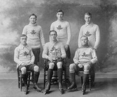 Oxford Canadian ice hockey team, champions of England, 1909-1910. Standing (L to R): J.G. Higgins, J.M. Mitchell, C.A. Adamson. Sitting (L to R): G. Lanctôt, E.A. Munro (captain), H.R.L. Henry