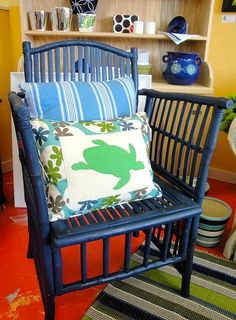 Painted rattan blue chair
