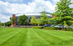 Property maintenance by Barrett Lawn care at a commercial property in South St. Paul.