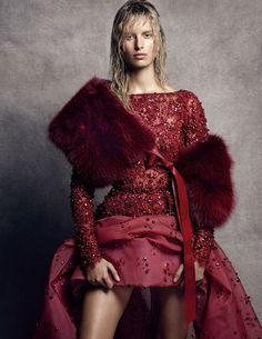 Bold & Beautiful: Karolina Kurkova in ELIE SAAB Haute Couture Fall Winter 2014-15 shot by Nico Bustos & styled by Belen Antolin for the October issue of Vogue Spain.