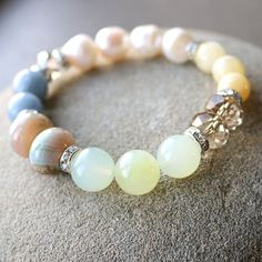 Freshwater pearl agate jade and crystal stretch by AlixHDesigns, $35.00