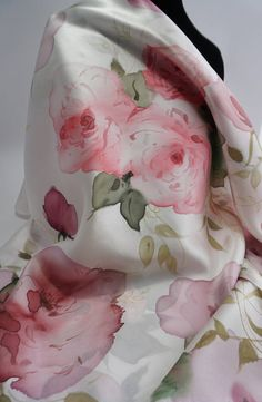 Your place to buy and sell all things handmade Satin Roses, Silk Satin, Rose Rise, Silk Art, Pink Scarves, Hand Painted, Painted Silk, Silk Painting, Rose Buds