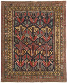 """Caucasian  3ft 11in x 4ft 10in Circa 1850   Demonstrating the tremendous diversity of 19th century Caucasian rugs, this highly prized collectible tribal rug exhibits a stunning clarity of design, the result of unusually fine knotting. Every element is exquisitely balanced, from the archetypal, signature """"Dragon Kuba"""" motifs of the field to its perfectly ordered geometric border suite. A seldom-encountered abundance of luminous saffron redoubles the emotional impact of its iconic, abstracted…"""