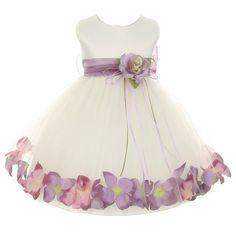 New Kids Dream Baby Girls Ivory Lavender Satin Petal Floating Flower Girl Dress 12M online. Find the  great  girls clothing from top store. Sku svdv38049qzzh29437