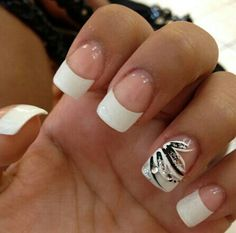 french nails with black design French Nails, French Manicure Nails, Manicures, French Tip Nail Designs, Cute Nail Designs, Prom Nails, Fun Nails, Wedding Nails, Glitter Nails