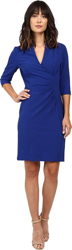 Tahari by ASL Women's Side Ruche Crepe Sheath Dress at Amazon Women's Clothing store: