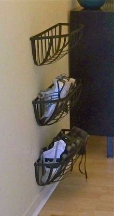 Wall planter shoe racks - did something similar in the stairs to the basement by the Garage door. Just one though for my shoes. Kids have a shoe ledge in the laundry room at their height. #diyshoerackwire