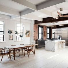 Scandinavian #minimalism meets #industrial in this Tribeca #loft by Søren Rose Studio. From it's original, now whitewashed oak floors and exposed brick to the super slick #marble and stainless #steel kitchen what's not to love? The old windows playing against the black steel and glass walls, the use of wood veneered storage walls to warm the space, the Scandinavian style #furniture, the skylight flooding the space with lovely light. Perfect.