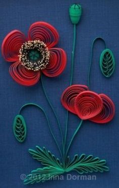 Paper Quilling - Poppies by Inna Dorman Arte Quilling, Paper Quilling Flowers, Quilled Paper Art, Quilling Paper Craft, Paper Crafts, Quilling Patterns, Quilling Designs, Origami, Quilled Creations