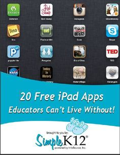 20 Free Ipad Apps Educators can't live Without #teaching #apps #kids