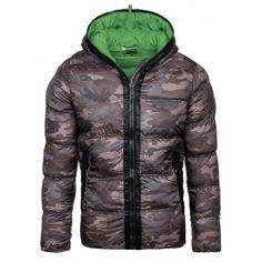 3575fe899 Maskáčová zimní pánská bunda se zeleným vnitřkem a kapucí - manozo.