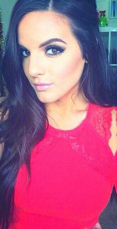 Gorgeous Casey Holmes. Long wavy hair, stunning smokey eye with nude lips