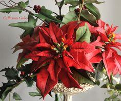 Red Poinsettias for Christmas Cake. #Christmas Poinsettia all made from sugar #CalliciousCakes #Callicious #facebook/callicious