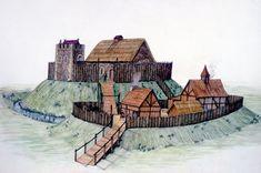 motte and bailey castles   Figure - A reconstruction of Clough Motte and Bailey castle, Co Down ...