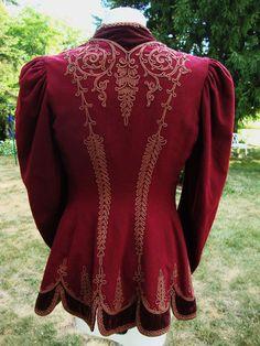 Antique Victorian Edwardian Jacket Wool w Velvet and Braid Beautiful RARE | eBay